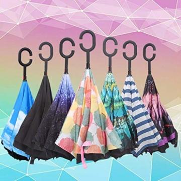 Hellery Reverse Regenschirm mit C-Griff, Umgedrehter Golfschirm, Stockschirm, Autofahrerschirm, Double Layer Inverted Umbrella - Blauer Himmel Weiße Wolke - 7