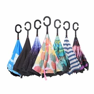 Hellery Reverse Regenschirm mit C-Griff, Umgedrehter Golfschirm, Stockschirm, Autofahrerschirm, Double Layer Inverted Umbrella - Blauer Himmel Weiße Wolke - 9
