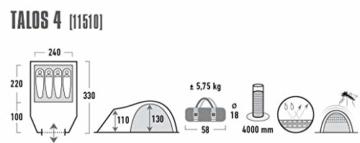 High Peak Kuppelzelt Talos 4, Campingzelt mit Vorbau, Iglu-Zelt für 4 Personen, doppelwandig, 4.000 mm wasserdicht, Vorbau mit Zeltboden, Ventilationssystem, Moskitoschutz, Klarsichtfolien-Fenster - 3