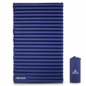 HIKENTURE Camping Isomatte Ultraleicht, Doppel Isomatte Aufblasbar für 2 Personen, Luftmatratze Schlafmatte Kleines Packmaß mit Fußpumpe, für Camping, Reise, Outdoor, Wandern, Strand, Navyblau - 1