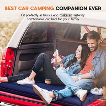 HIKENTURE Camping Isomatte Ultraleicht, Doppel Isomatte Aufblasbar für 2 Personen, Luftmatratze Schlafmatte Kleines Packmaß mit Fußpumpe, für Camping, Reise, Outdoor, Wandern, Strand, Navyblau - 5
