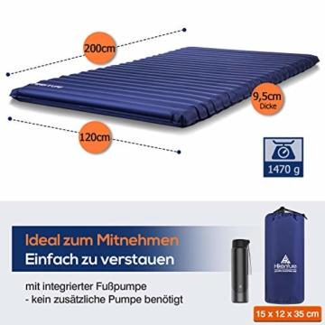 HIKENTURE Camping Isomatte Ultraleicht, Doppel Isomatte Aufblasbar für 2 Personen, Luftmatratze Schlafmatte Kleines Packmaß mit Fußpumpe, für Camping, Reise, Outdoor, Wandern, Strand, Navyblau - 6