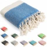 HolyDays® Strandtuch XXL 100x180cm aus 100% Baumwolle Oeko-TEX® | Hamamtuch | Badetuch | Saunatuch | Peshtemal | Fouta | Picknicktuch | hochwertig | saugstark | extra leicht | Damen | Herren - 1