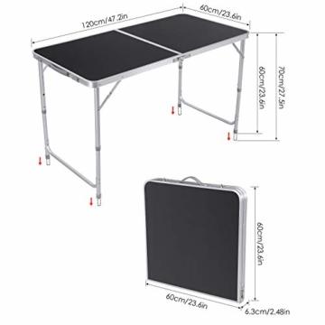 Homfa Campingtisch Klapptisch faltbar Gartentisch aus Aluminium Falttisch höhenverstellbar schwarz 120x60x55/60/70cm - 2