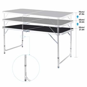 Homfa Campingtisch Klapptisch faltbar Gartentisch aus Aluminium Falttisch höhenverstellbar schwarz 120x60x55/60/70cm - 3