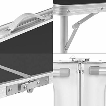 Homfa Campingtisch Klapptisch faltbar Gartentisch aus Aluminium Falttisch höhenverstellbar schwarz 120x60x55/60/70cm - 4