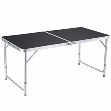 Homfa Campingtisch Klapptisch faltbar Gartentisch aus Aluminium Falttisch höhenverstellbar schwarz 120x60x55/60/70cm - 1