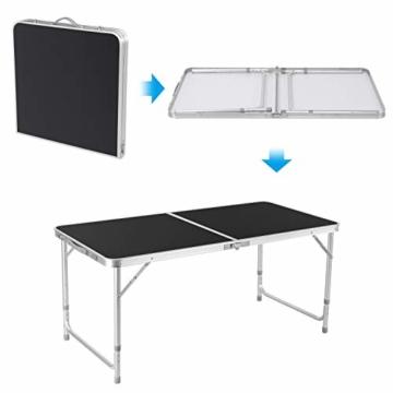 Homfa Campingtisch Klapptisch faltbar Gartentisch aus Aluminium Falttisch höhenverstellbar schwarz 120x60x55/60/70cm - 5