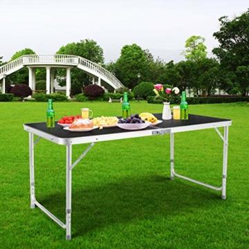Homfa Campingtisch Klapptisch faltbar Gartentisch aus Aluminium Falttisch höhenverstellbar schwarz 120x60x55/60/70cm - 6