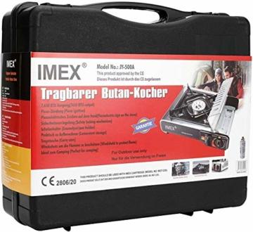 i-mex IMEX Camping GASKOCHER Set KOCHER IM TRAGEKOFFER MIT GASKARTUSCHEN Menge FREI WÄHLBAR (Gaskocher mit 8 x Gaskartuschen) - 6