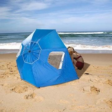 infactory Sonnenschirm Muschel: 2in1-Sonnenschirm und Strandmuschel 2 Seitenwände, UV50+, verstellbar (Sonnenschirm Strandschirm) - 3