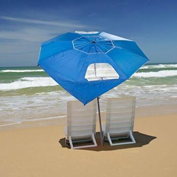 infactory Sonnenschirm Muschel: 2in1-Sonnenschirm und Strandmuschel 2 Seitenwände, UV50+, verstellbar (Sonnenschirm Strandschirm) - 6