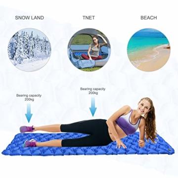 IREGRO Isomatte Camping, Ultraleicht Aufblasbare Isomatte Schlafmatte, Luftmatratze Camping, Outdoor Isomatte, Wasserdicht, Kleines Packmaß, für Wandern, Backpacking, Camping, Strand - 2