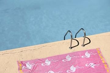 jilda-tex Strandtuch 90x180 cm Badetuch Strandlaken Handtuch 100% Baumwolle Velours Frottier Pflegeleicht (Flamingo Tropical) - 2