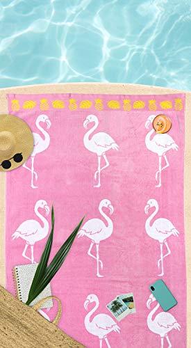 jilda-tex Strandtuch 90x180 cm Badetuch Strandlaken Handtuch 100% Baumwolle Velours Frottier Pflegeleicht (Flamingo Tropical) - 3