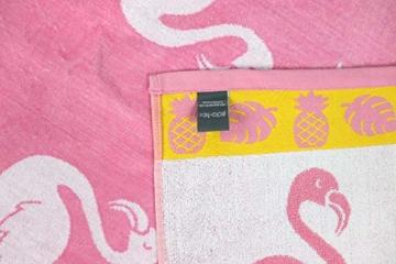 jilda-tex Strandtuch 90x180 cm Badetuch Strandlaken Handtuch 100% Baumwolle Velours Frottier Pflegeleicht (Flamingo Tropical) - 4