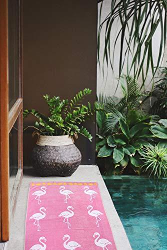 jilda-tex Strandtuch 90x180 cm Badetuch Strandlaken Handtuch 100% Baumwolle Velours Frottier Pflegeleicht (Flamingo Tropical) - 5