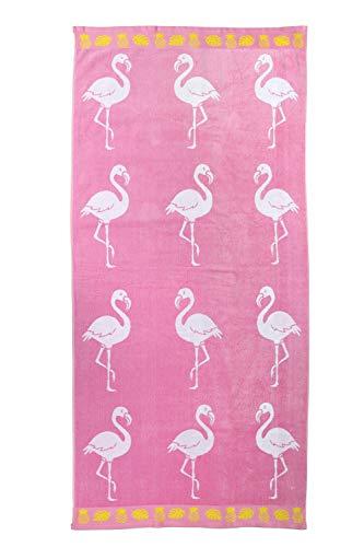jilda-tex Strandtuch 90x180 cm Badetuch Strandlaken Handtuch 100% Baumwolle Velours Frottier Pflegeleicht (Flamingo Tropical) - 1