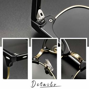 Joopin Retro Halbrahmen Sonnenbrille Herren/Damen Klassische Polarisierte Sonnenbrille mit UV400 Schutz - 2