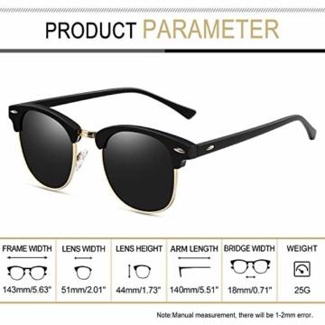 Joopin Retro Halbrahmen Sonnenbrille Herren/Damen Klassische Polarisierte Sonnenbrille mit UV400 Schutz - 5