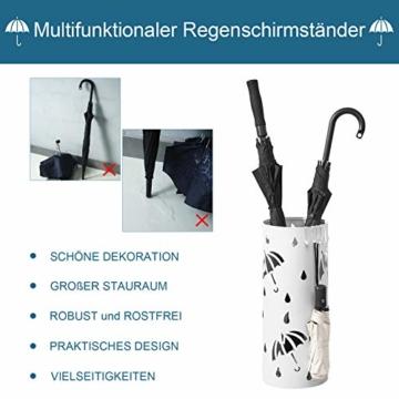 Lestarain Schirmständer Metall Regenschirmständer Schirmhalter mit Wasserauffangschale und Haken Zylinder Weiß Ø20 x H49 cm - 6