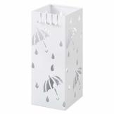 Lestarain Schirmständer Metall Regenschirmständer Schirmhalter mit Wasserauffangschale und Haken Quader Weiß 20x20x49 cm - 1