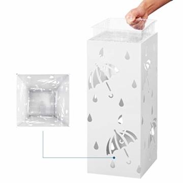 Lestarain Schirmständer Metall Regenschirmständer Schirmhalter mit Wasserauffangschale und Haken Quader Weiß 20x20x49 cm - 3