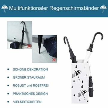 Lestarain Schirmständer Metall Regenschirmständer Schirmhalter mit Wasserauffangschale und Haken Quader Weiß 20x20x49 cm - 6