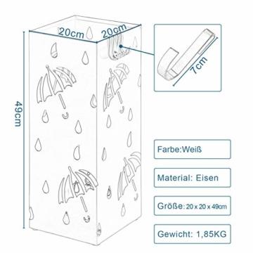 Lestarain Schirmständer Metall Regenschirmständer Schirmhalter mit Wasserauffangschale und Haken Quader Weiß 20x20x49 cm - 7