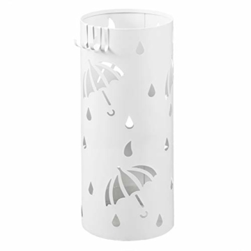 Lestarain Schirmständer Metall Regenschirmständer Schirmhalter mit Wasserauffangschale und Haken Zylinder Weiß Ø20 x H49 cm - 1