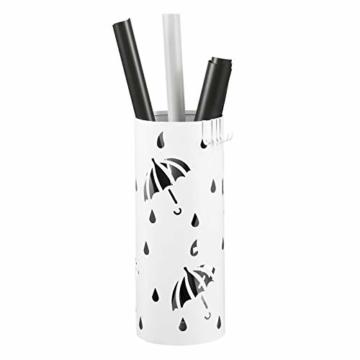 Lestarain Schirmständer Metall Regenschirmständer Schirmhalter mit Wasserauffangschale und Haken Zylinder Weiß Ø20 x H49 cm - 3