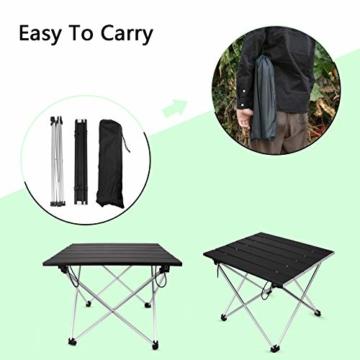 Linkax Tragbar Klapptisch Aluminium Campingtisch mit Tragetasche, Maximale Belastung 30 kg für Camping Picknick, Strand, Garten Grill - 5