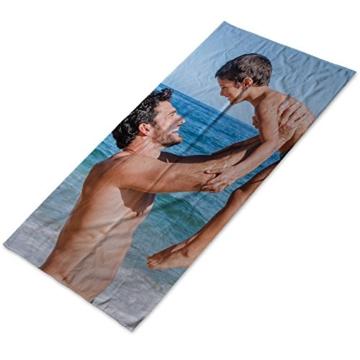 LolaPix Personalisiertes Strandhandtuch mit Foto/Bild/Text/Name. Badetuch aus Baumwolle. Personalisiertes Strandtuch Camping Pool. Verschiedene Größen verfügbar. 80x160cm. - 1