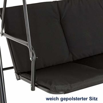 M MCombo 3-Sitzer Hollywoodschaukel Gartenschaukel Gartenliege Schaukelbank 8003 (Schwarz) - 7