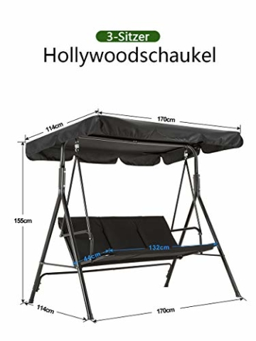 M MCombo 3-Sitzer Hollywoodschaukel Gartenschaukel Gartenliege Schaukelbank 8003 (Schwarz) - 8