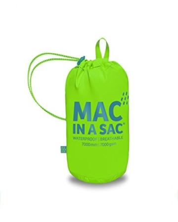 Mac in a Sac New Neon - Unisex Regenjacke - wasserdicht - mit Tasche zum Verstauen - Neonfarben - Neongrün - M - 3
