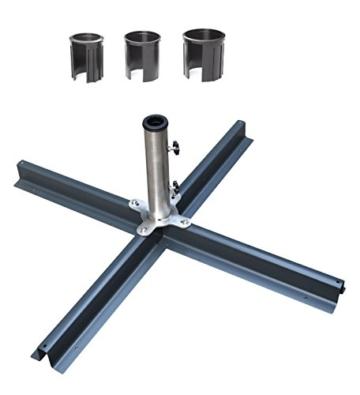 Mandalika Garden Hochwertiger Edelstahl Plattenständer in anthrazit inklusive Reduzierringe Set bis 48 mm Rohrdurchmesser - 1
