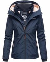 Marikoo Damen Regen Jacke Outdoor Regenjacke Winterjacke Fleece Gefüttert Kapuze XS - XXL Erdbeere (L, Navy) - 1