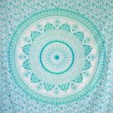 MOMOMUS Mandala Wandteppich - Sonne- 100% Baumwolle, Groß, Mehrzweck - Wandtuch, Strandtuch XXL, Pareo Tuch - Stranddecke Sandfrei, Türkis - 1