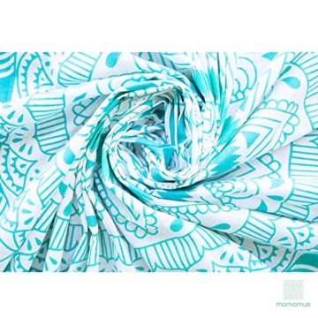 MOMOMUS Mandala Wandteppich - Sonne- 100% Baumwolle, Groß, Mehrzweck - Wandtuch, Strandtuch XXL, Pareo Tuch - Stranddecke Sandfrei, Türkis - 3