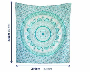 MOMOMUS Mandala Wandteppich - Sonne- 100% Baumwolle, Groß, Mehrzweck - Wandtuch, Strandtuch XXL, Pareo Tuch - Stranddecke Sandfrei, Türkis - 4