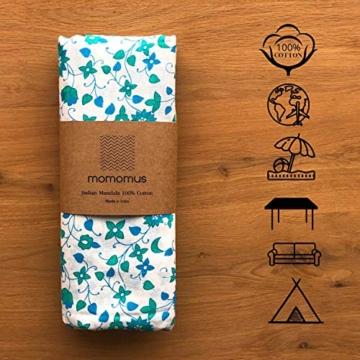 MOMOMUS Mandala Wandteppich - Sonne- 100% Baumwolle, Groß, Mehrzweck - Wandtuch, Strandtuch XXL, Pareo Tuch - Stranddecke Sandfrei, Türkis - 5