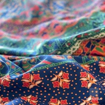 MOMOMUS Wandteppich Mandala -Ethnisch-100% Baumwolle, Groß, Mehrzweck - Wandtuch, Strandtuch XXL, Pareo Tuch - Bettüberwurf/Sofaüberwurf & Überwurf für Sofa/Couch, Bett - 210x230 cm, Orange Blau - 2