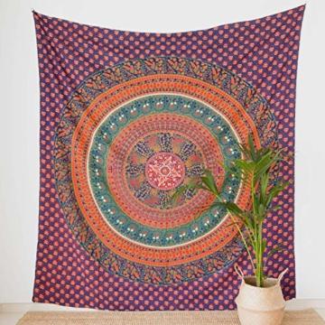 MOMOMUS Wandteppich Mandala -Ethnisch-100% Baumwolle, Groß, Mehrzweck - Wandtuch, Strandtuch XXL, Pareo Tuch - Bettüberwurf/Sofaüberwurf & Überwurf für Sofa/Couch, Bett - 210x230 cm, Orange Blau - 3