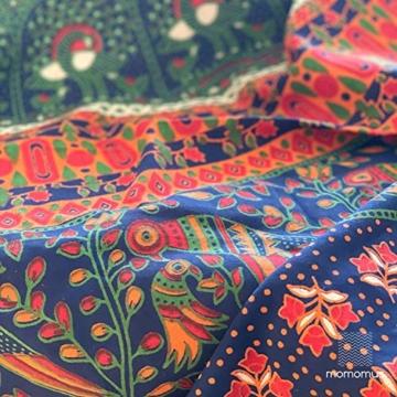MOMOMUS Wandteppich Mandala -Ethnisch-100% Baumwolle, Groß, Mehrzweck - Wandtuch, Strandtuch XXL, Pareo Tuch - Bettüberwurf/Sofaüberwurf & Überwurf für Sofa/Couch, Bett - 210x230 cm, Orange Blau - 4