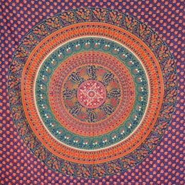 MOMOMUS Wandteppich Mandala -Ethnisch-100% Baumwolle, Groß, Mehrzweck - Wandtuch, Strandtuch XXL, Pareo Tuch - Bettüberwurf/Sofaüberwurf & Überwurf für Sofa/Couch, Bett - 210x230 cm, Orange Blau - 1