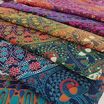 MOMOMUS Wandteppich Mandala -Ethnisch-100% Baumwolle, Groß, Mehrzweck - Wandtuch, Strandtuch XXL, Pareo Tuch - Bettüberwurf/Sofaüberwurf & Überwurf für Sofa/Couch, Bett - 210x230 cm, Orange Blau - 5