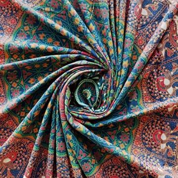 MOMOMUS Wandteppich Mandala -Ethnisch-100% Baumwolle, Groß, Mehrzweck - Wandtuch, Strandtuch XXL, Pareo Tuch - Bettüberwurf/Sofaüberwurf & Überwurf für Sofa/Couch, Bett - 210x230 cm, Orange Blau - 7