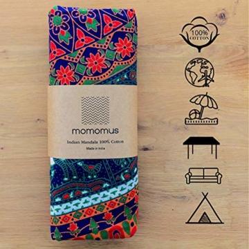 MOMOMUS Wandteppich Mandala -Ethnisch-100% Baumwolle, Groß, Mehrzweck - Wandtuch, Strandtuch XXL, Pareo Tuch - Bettüberwurf/Sofaüberwurf & Überwurf für Sofa/Couch, Bett - 210x230 cm, Orange Blau - 8