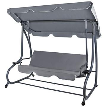 Montafox 4-Sitzer Hollywoodschaukel Gartenschaukel klappbar mit Bettfunktion mit Sonnendach und Liegefunktion für 4 Personen, Farbe:Asphaltgrau - 4